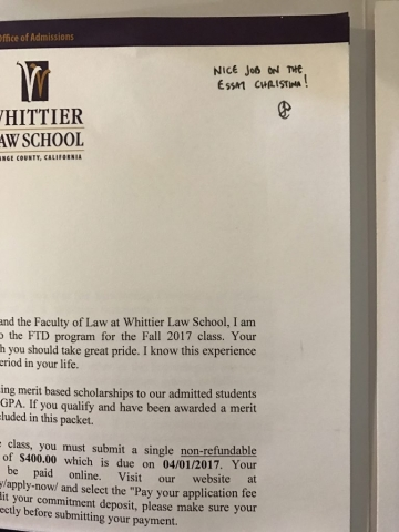 Acceptance letter to Whittier Law